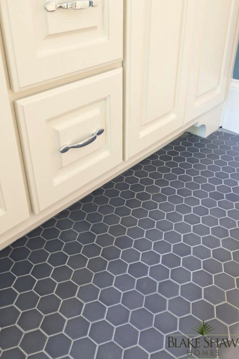 Gorgeous Detail Shot Of Gray Hexagonal Tiled Bathroom Floors With