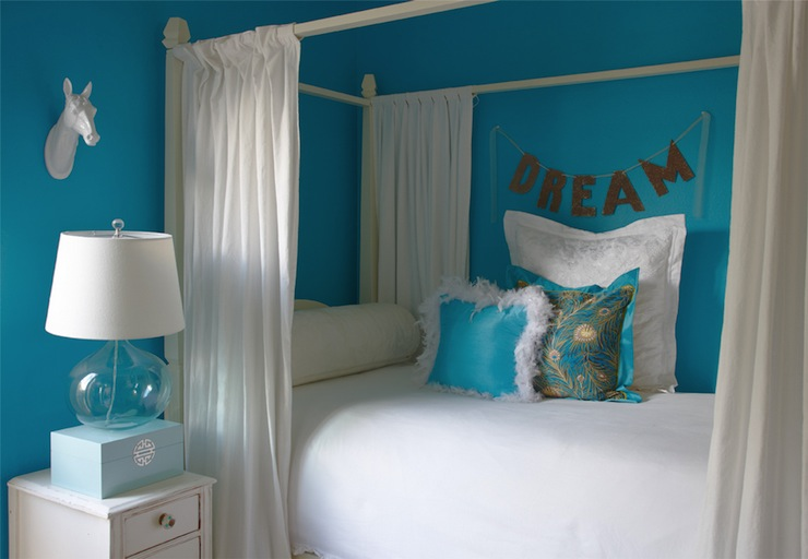 Turquoise Color Bedroom Ideas Part - 15: Turquoise Girlu0027s Room View Full Size