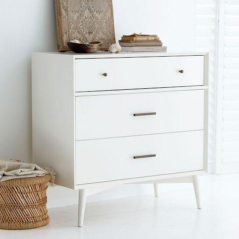 Mid Century 3 Drawer Dresser White West Elm