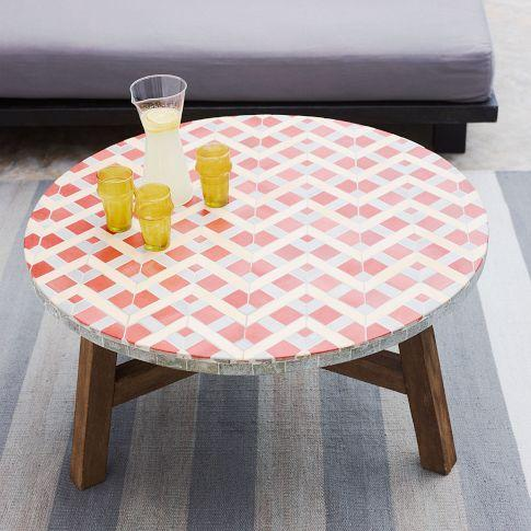 Mosaic Tiled Coffee Table   Coral   West Elm