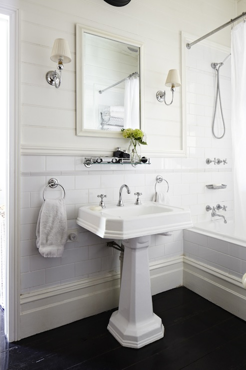 Glass Shelf Over Sink Traditional Bathroom Elle Decor