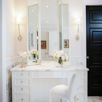 White Vanity Mirror With Lights. Marble Top Makeup Vanity Folding Mirror Design Ideas