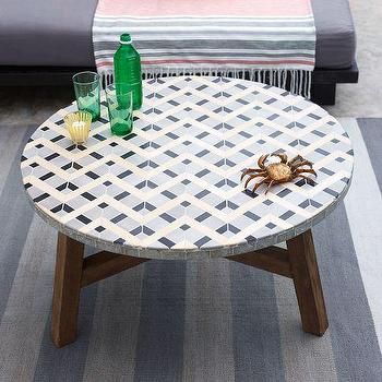 White Mosaic Round Coffee Table