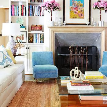 Blue Slipper Chairs, Contemporary, living room, D Magazine