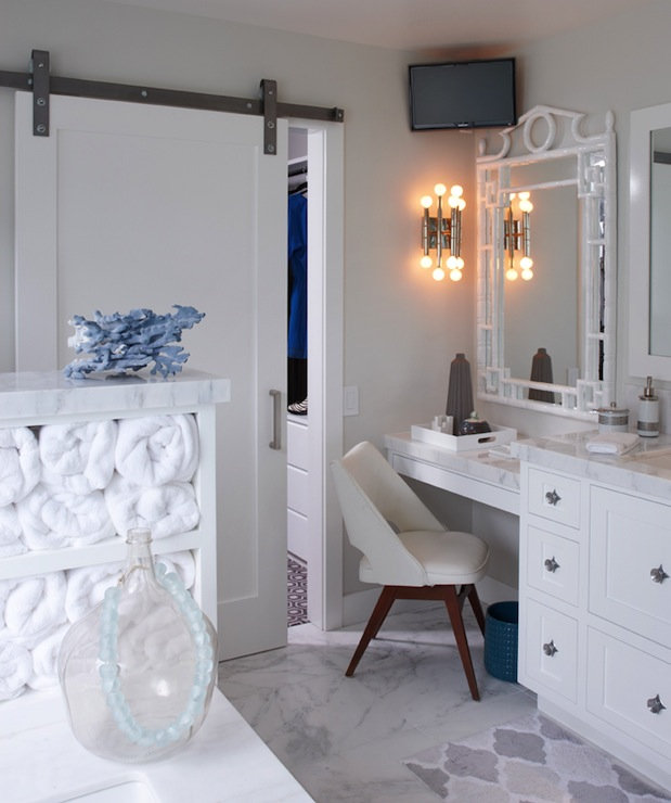 White Bamboo Mirror Contemporary Bathroom K Mathiesen Brown Design