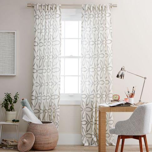 Pinwheel linen window panel stone white slate west elm for West elm window treatments