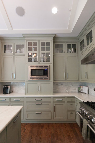 Gray Green Cabinets Transitional Kitchen
