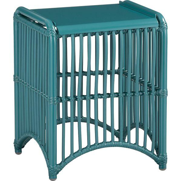 kruger harbor blue side table crate and barrel aluminum crate barrel