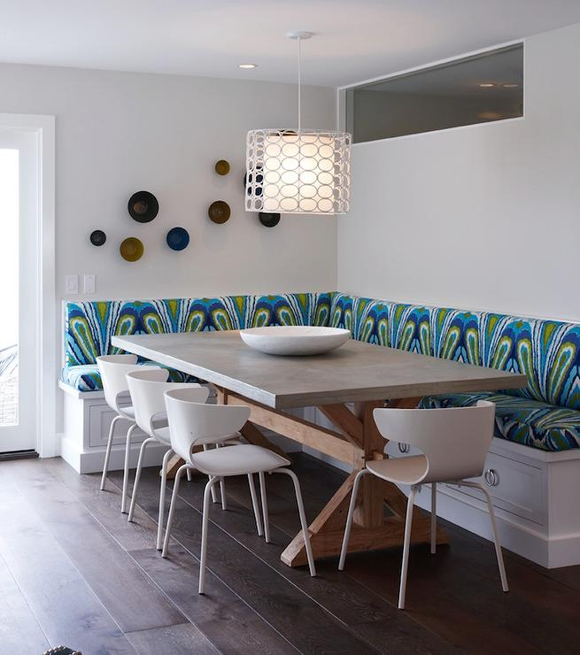 Metallic Dining banquette with Zinc and Wood Trestle Dining Table
