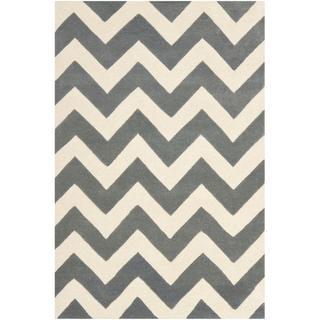 Chevron Dark Grey/ Ivory Wool Rug (4