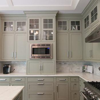 Gray green cabinets transitional kitchen town for Grey green kitchen cabinets