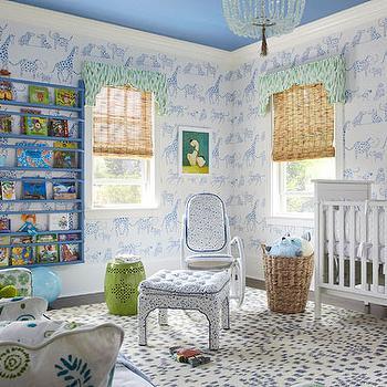 Boys Nursery Wallpaper, Contemporary, nursery, Farrow & Ball Cooks Blue, Traditional Home