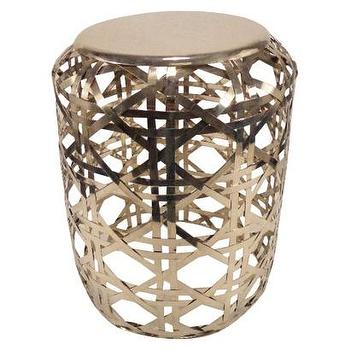 Threshold Gold Basket Weave Metal Accent Table