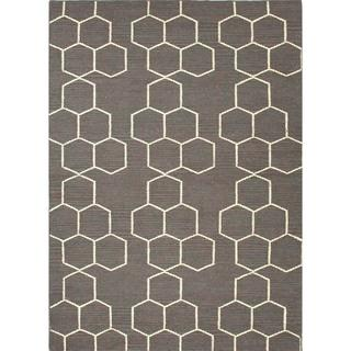 Handmade Flat Weave Geometric Gray Wool Rug (9' x 12'), Overstock.com