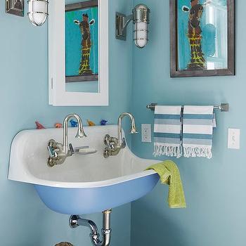 Kohler Brockway Sink, Contemporary, bathroom, Farrow & Ball Blue Ground, Traditional Home