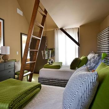 Brown and Green Boys Room, Contemporary, boy's room, Sherwin Williams Latte, HGTV