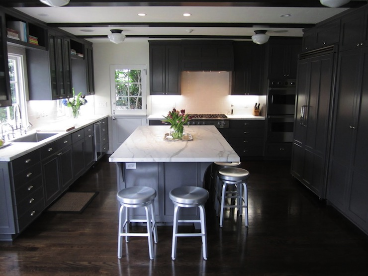 Gray Kitchen Cabinets With White Marble Countertops Contemporary - Gray kitchen cabinets with wood floors