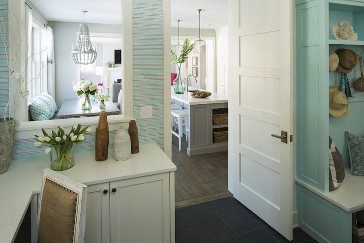 Turquoise paint colors cottage laundry room benjamin for Mudroom office