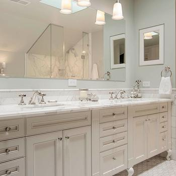 White Double Vanity with White Marble Countertop, Traditional