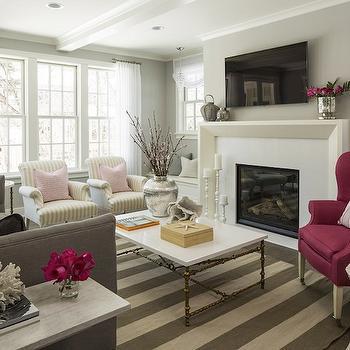 Gray Striped Rug, Contemporary, living room, Benjamin Moore Stonington Gray, Martha O'Hara Interiors
