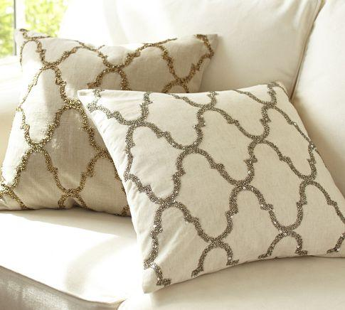 Decorative Pillows From Pottery Barn : Rustic Luxe Sequin Tile Pillow Cover - Pottery Barn
