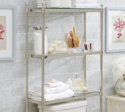 metal over the toilet etagere pottery barn. Black Bedroom Furniture Sets. Home Design Ideas