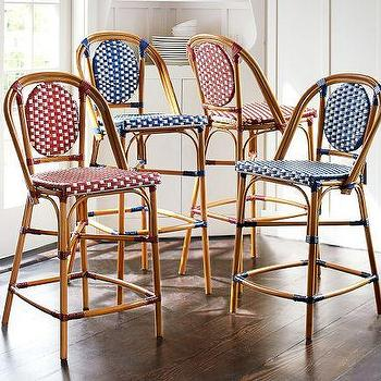 Paris Bistro Natural And Navy Bar Stool