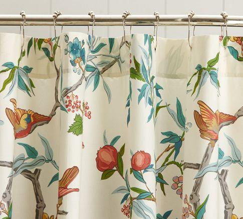 Zinnia Palampore Organic Shower Curtain Pottery Barn