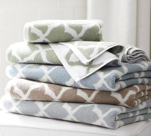 Marlo Jacquard Organic Bath Towels Pottery Barn