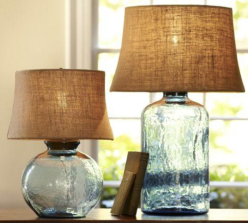 Glass Table Lamp Base - Light Blue - Pottery Barn
