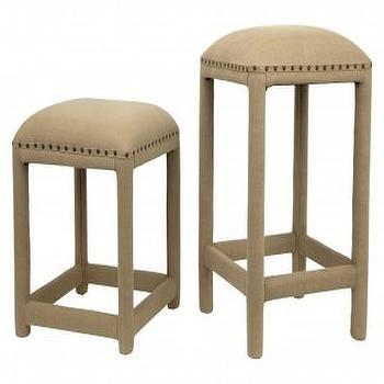 Gray Nailhead Trim Upholstered Barstool