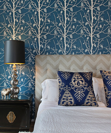 Chevron headboard contemporary bedroom turquoise la for Blue and white bedroom wallpaper
