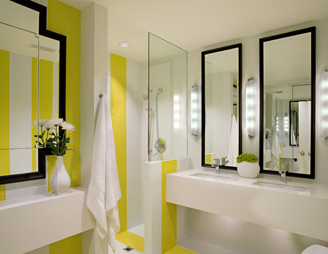 White And Yellow Bathroom View Full Size
