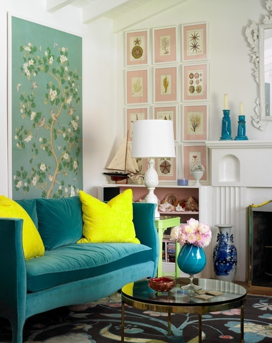 Turquoise Sofa Eclectic Living Room