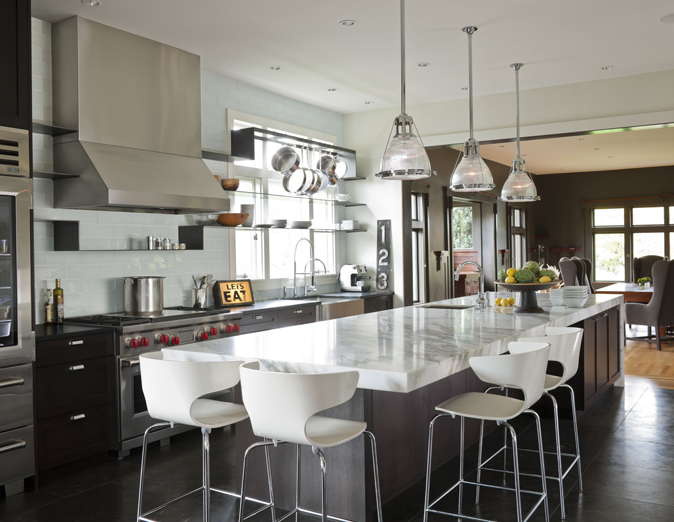 Long Kitchen Island Contemporary NB Design Group