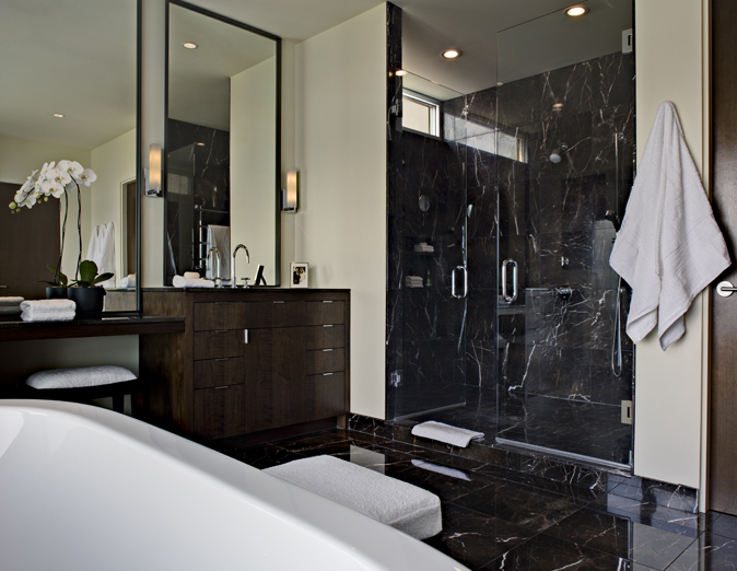 Black Marble Tile Shower Surround Contemporary