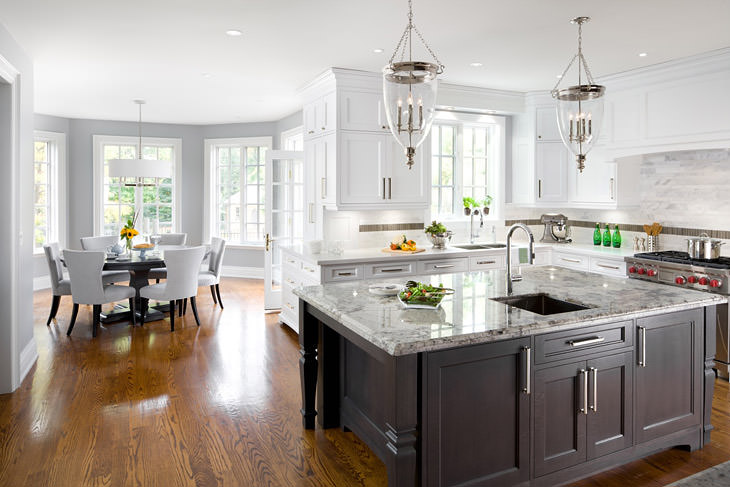 Alaska White Granite Transitional Kitchen Benjamin
