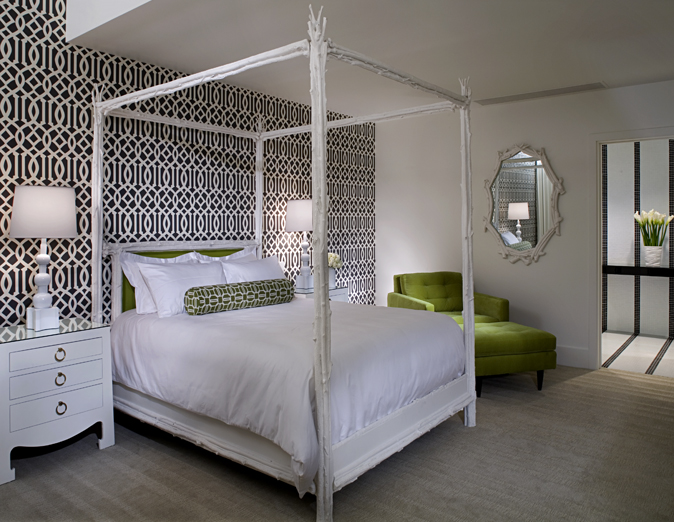 White Black and Green Bedroom - Contemporary - bedroom - NB ...