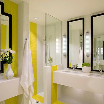 White and Yellow Bathroom, Contemporary, bathroom, NB Design Group