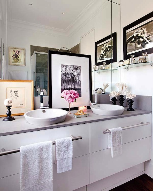 His And Her Vessel Sinks Contemporary Bathroom Nuevo