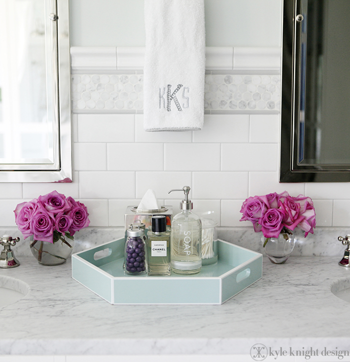 Carrara penny round tile transitional bathroom for Bathroom tray