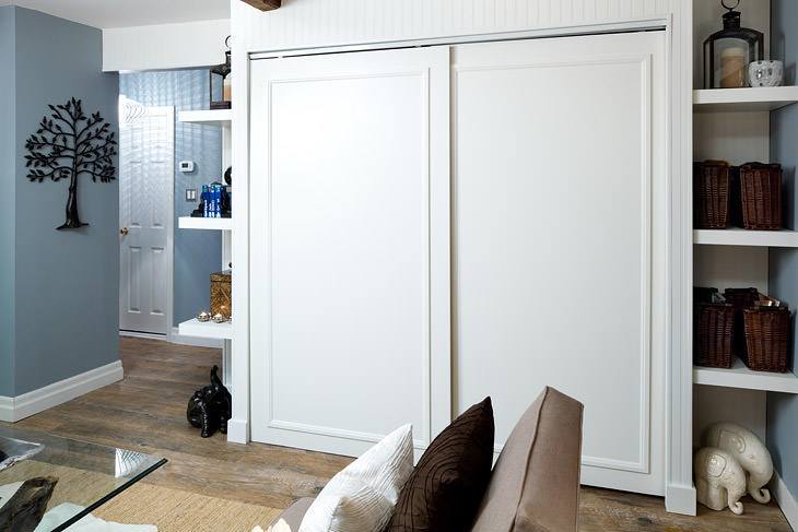 built in tv niche contemporary closet la closet design. Black Bedroom Furniture Sets. Home Design Ideas