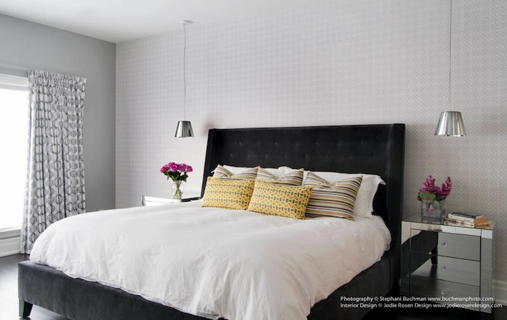 Black Velvet Tufted Headboard Contemporary Bedroom