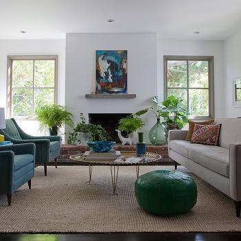 Gray and Green living Room with Gold ChairsTransitional