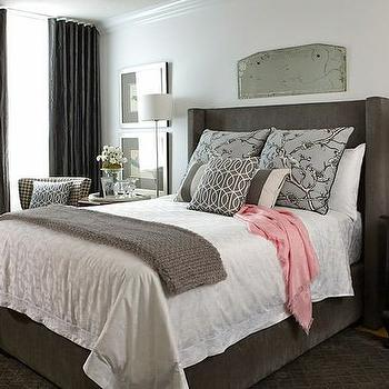 Black canopy bed contemporary bedroom emily a clark for Charcoal grey bedroom designs