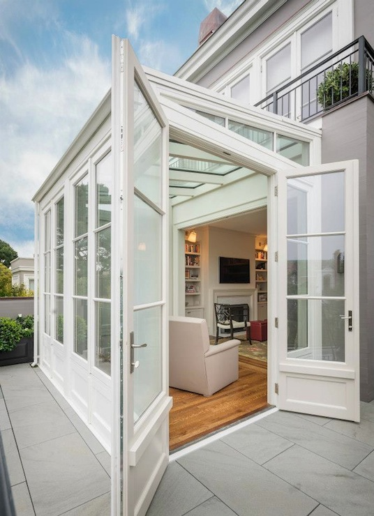 Sunroom extension transitional home exterior sutro for Conservatory doors exterior