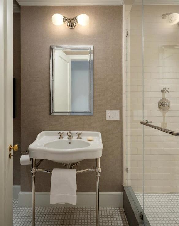Fabulous bathroom with mushroom colored textured wallpaper and Waterworks Basketweave Mosaic tiled floors. Blue Textured Bathroom Wallpaper Design Ideas