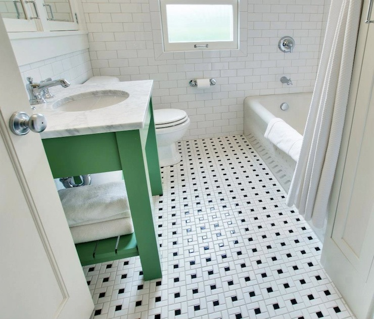 View Full Size White And Green Bathroom With Green Washstand And Carrara Marble Countertop Over Vintage Black And White Tile Floor