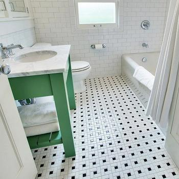 Green Washstand. Vintage Black And White Bathroom Floor Design Ideas