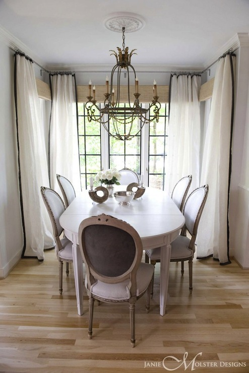 White and black curtains french dining room janie for Dining room drapes